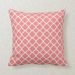 Light Coral Pink Moroccan Quatrefoil Throw Pillows