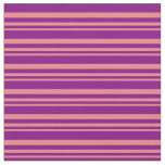 [ Thumbnail: Light Coral & Purple Lined/Striped Pattern Fabric ]