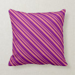 [ Thumbnail: Light Coral & Purple Lined/Striped Pattern Pillow ]