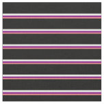 [ Thumbnail: Light Coral, Purple, Mint Cream & Black Stripes Fabric ]