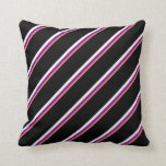 [ Thumbnail: Light Coral, Purple, Mint Cream & Black Stripes Throw Pillow ]