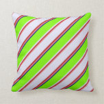 [ Thumbnail: Light Coral, Red, Lavender, Green & Blue Colored Throw Pillow ]