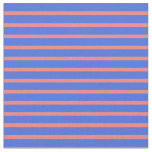 [ Thumbnail: Light Coral & Royal Blue Lined/Striped Pattern Fabric ]