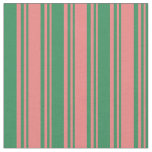 [ Thumbnail: Light Coral & Sea Green Lines/Stripes Pattern Fabric ]