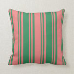 [ Thumbnail: Light Coral & Sea Green Lines/Stripes Pattern Throw Pillow ]