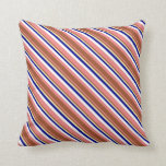 [ Thumbnail: Light Coral, Sienna, Pale Goldenrod, Blue & White Throw Pillow ]