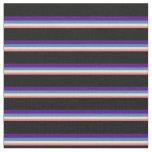 [ Thumbnail: Light Coral, Tan, Blue, Indigo & Black Stripes Fabric ]