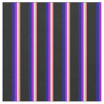 [ Thumbnail: Light Coral, Tan, Dark Violet, Blue & Black Lines Fabric ]