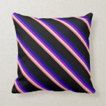 [ Thumbnail: Light Coral, Tan, Dark Violet, Blue & Black Lines Throw Pillow ]