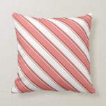 [ Thumbnail: Light Coral, White, and Sienna Colored Stripes Throw Pillow ]