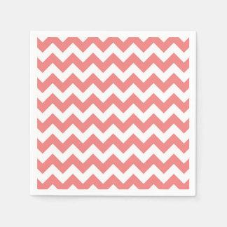 Light Coral White Chevron Zig-Zag Pattern Paper Napkin