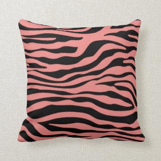 Light Coral Zebra Stripes Animal Print Pillows