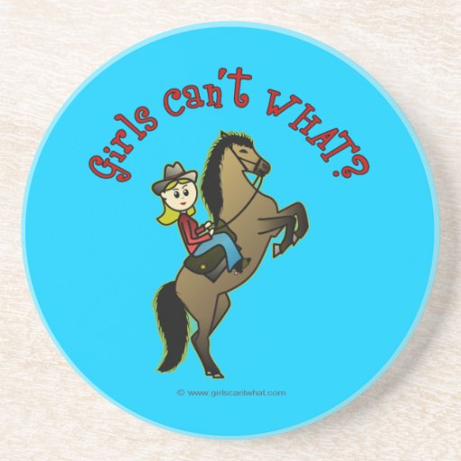 Light Cowgirl on Horse Beverage Coaster