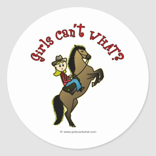 Light Cowgirl on Horse Classic Round Sticker