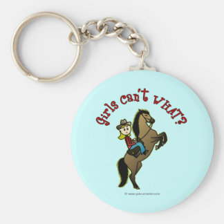 Light Cowgirl on Horse Keychain