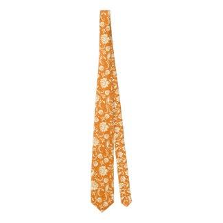 Light Cream And Orange Floral Damasks Tie