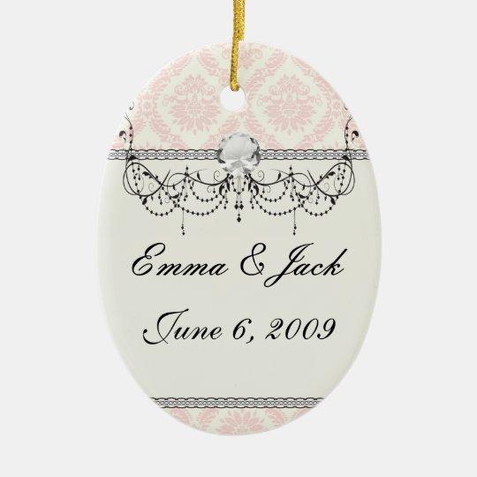 light cream and pink damask ceramic ornament