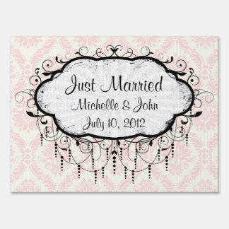 light cream and pink damask lawn sign