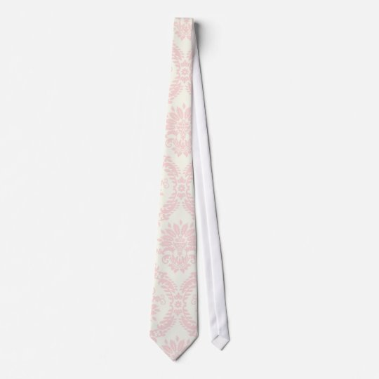 light cream and pink damask neck tie