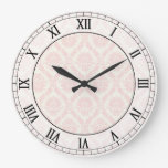 light cream and pink damask roman numerals round clocks