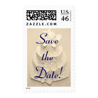 Light Cream Cake Savethe Date Postage Stamps