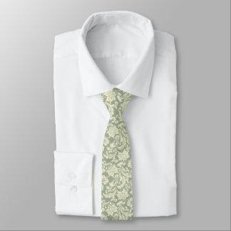 Light Cream & Sage Green Damasks Necktie