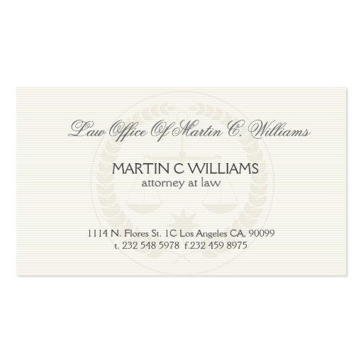 Light cream scale of justice watermark business card zazzle for Watermark business cards