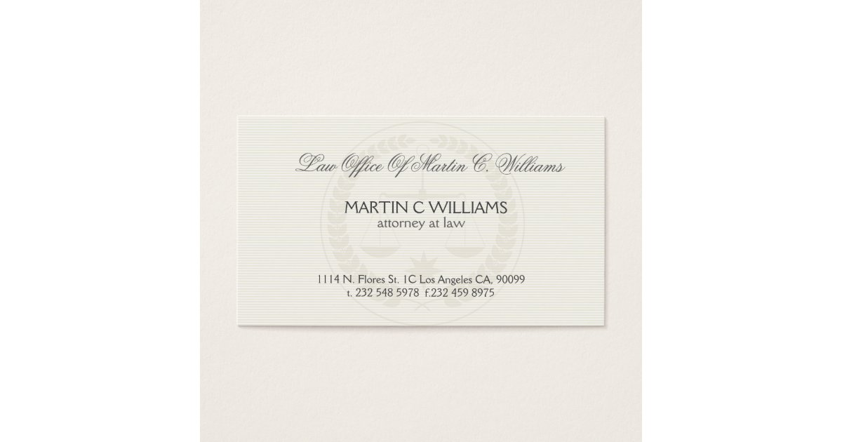 Light Cream Scale Of Justice Watermark Business Card | Zazzle.com