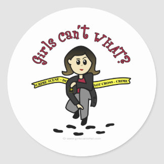 Light CSI Girl Classic Round Sticker
