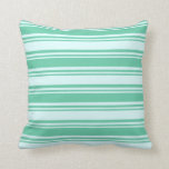 [ Thumbnail: Light Cyan and Aquamarine Lines Pattern Pillow ]