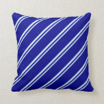 [ Thumbnail: Light Cyan and Dark Blue Lines/Stripes Pattern Throw Pillow ]