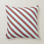 [ Thumbnail: Light Cyan and Maroon Colored Lines Throw Pillow ]