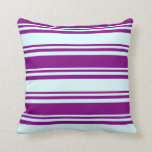 [ Thumbnail: Light Cyan and Purple Pattern Throw Pillow ]