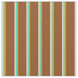 [ Thumbnail: Light Cyan, Aqua, Dark Orange, and Brown Pattern Fabric ]