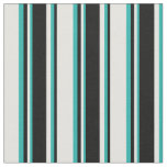 [ Thumbnail: Light Cyan, Black & Light Sea Green Pattern Fabric ]
