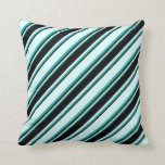 [ Thumbnail: Light Cyan, Black & Light Sea Green Pattern Pillow ]