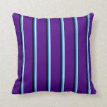 [ Thumbnail: Light Cyan, Blue, Black & Indigo Pattern Pillow ]