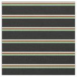 [ Thumbnail: Light Cyan, Brown, Dark Sea Green & Black Lines Fabric ]