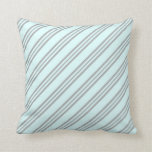 [ Thumbnail: Light Cyan & Dark Grey Colored Stripes Pillow ]