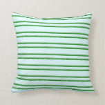 [ Thumbnail: Light Cyan, Dark Sea Green, and Green Pattern Throw Pillow ]
