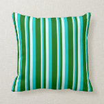 [ Thumbnail: Light Cyan, Dark Turquoise, and Dark Green Colored Throw Pillow ]