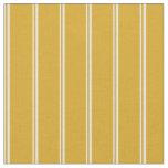 [ Thumbnail: Light Cyan & Goldenrod Colored Stripes Fabric ]