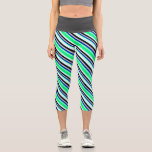 [ Thumbnail: Light Cyan, Green, Blue, Grey & Black Colored Leggings ]