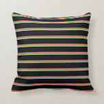 [ Thumbnail: Light Cyan, Green, Light Coral, and Black Pattern Throw Pillow ]