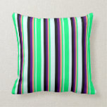 [ Thumbnail: Light Cyan, Green, Light Salmon, Indigo & Black Throw Pillow ]
