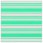[ Thumbnail: Light Cyan & Green Striped Pattern Fabric ]