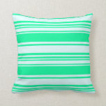 [ Thumbnail: Light Cyan & Green Striped Pattern Throw Pillow ]