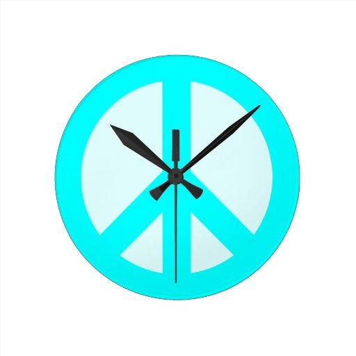 Light Cyan Peace Sign Wall Clock Zazzle
