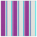 [ Thumbnail: Light Cyan, Purple & Aqua Colored Lined Pattern Fabric ]