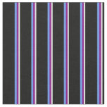 [ Thumbnail: Light Cyan, Purple, Cornflower Blue & Black Lines Fabric ]